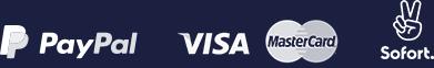 Zahlungsarten: Paypal, Kreditkarte, Sofortzahlung